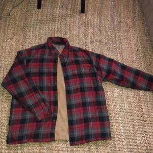Bass Jackets & Coats - G.H BASS CO XL FLANNEL FLEECE SHIRT JACKET (RED)